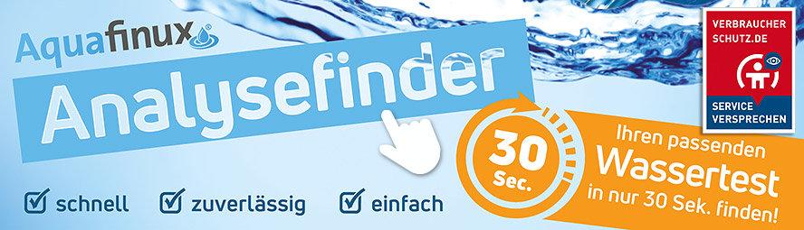 Der Analysefinder von Aquafinux: ermitteln Sie mit nur wenigen Fragen den idealen Wassertest.